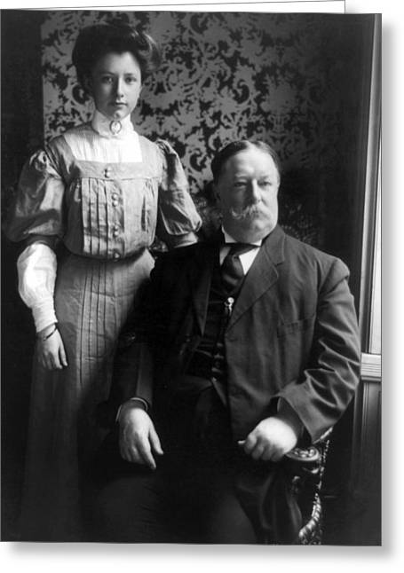 Taft Greeting Cards - President William Howard Taft with daughter Greeting Card by International  Images