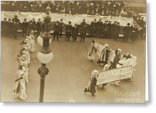 Political Rally Greeting Cards - President Wilson Favors Votes for Women Greeting Card by Padre Art