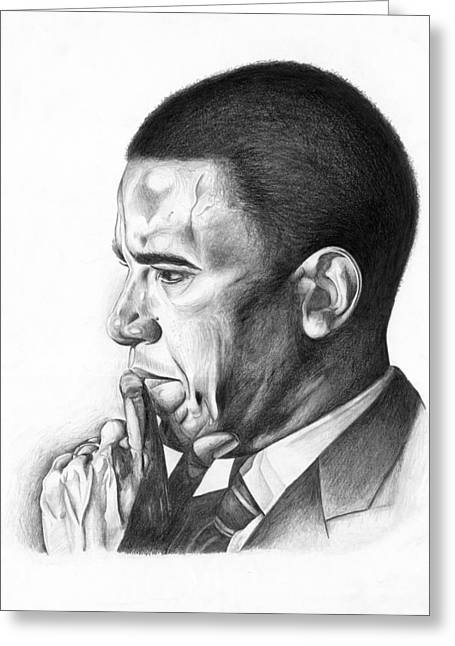 Jeff Drawings Drawings Greeting Cards - Presidential Thoughts Greeting Card by Jeff Stroman