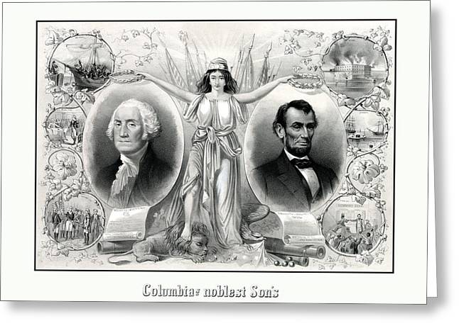 President Drawings Greeting Cards - Presidents Washington and Lincoln Greeting Card by War Is Hell Store