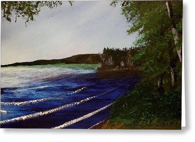 Green Day Paintings Greeting Cards - Presque Isle Lake Greeting Card by Karl Van Order
