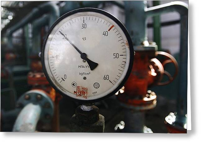 Fuel Gauge Greeting Cards - Pressure Dial, Natural Gas Industry Greeting Card by Ria Novosti