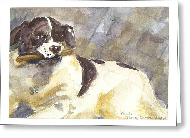 Dog With Stick Greeting Cards - Presto number six Greeting Card by Nancy Brennand