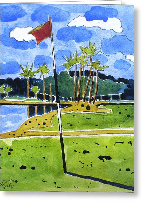 Tropical Golf Course Greeting Cards - Prestwick 17th Florida Greeting Card by Lesley Giles