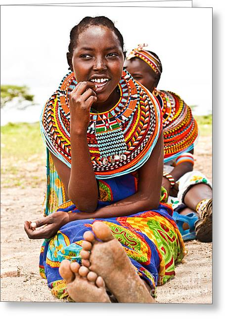 Black Clothes Greeting Cards - Pretty African teen Greeting Card by Anna Omelchenko
