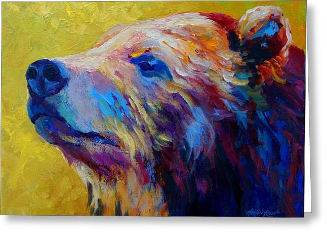 Marion Rose Greeting Cards - Pretty Boy - Grizzly Bear Greeting Card by Marion Rose