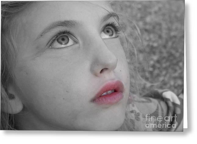 Girl Profile Greeting Cards - Pretty Girl Greeting Card by Deborah MacQuarrie