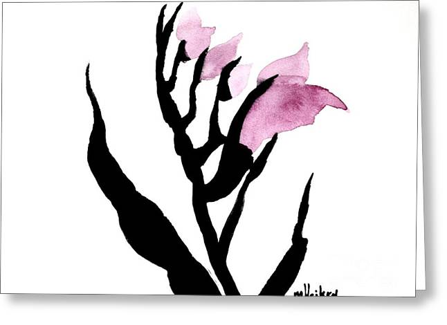 Decent Greeting Cards - Pretty in pink Gladiolus Greeting Card by Marsha Heiken