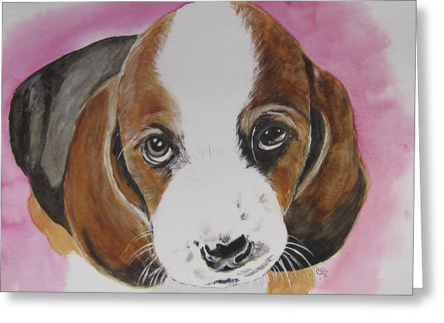 Puppies Mixed Media Greeting Cards - Pretty Please Greeting Card by Carol Blackhurst
