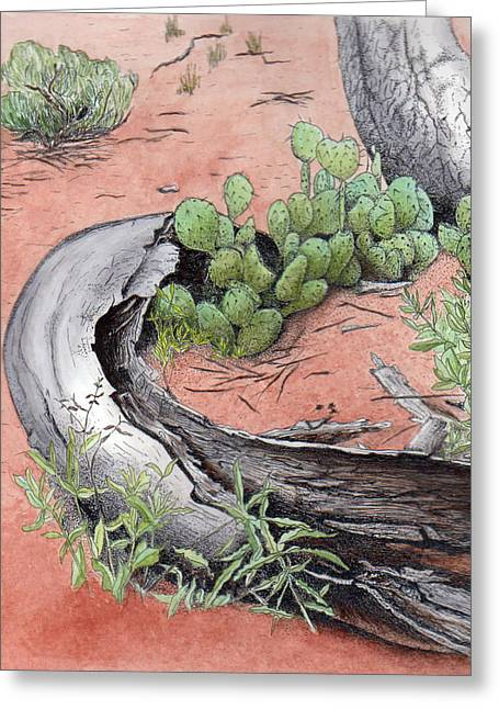 Prickly Pear Cacti In Zion Greeting Card by Inger Hutton