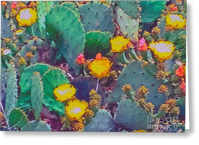 Prickly Greeting Cards - Prickly Pear Cactus 2 Greeting Card by Methune Hively