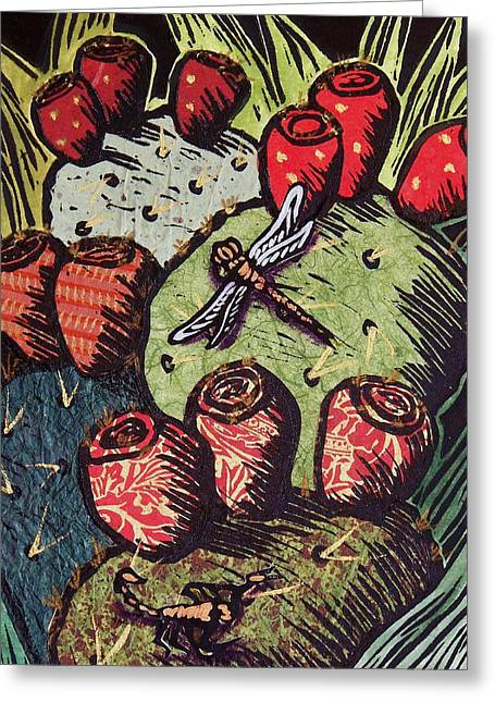 Linoleum Print Mixed Media Greeting Cards - Prickly Pear Greeting Card by Candy Mayer