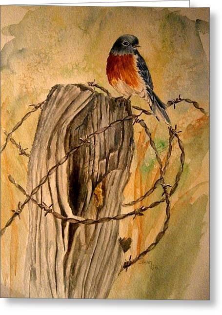 Old Fence Posts Paintings Greeting Cards - Prickly sittin Greeting Card by Diane Carlisle