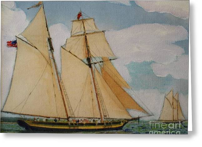 Schooner Mixed Media Greeting Cards - Pride of Baltimore Greeting Card by Bill Hubbard