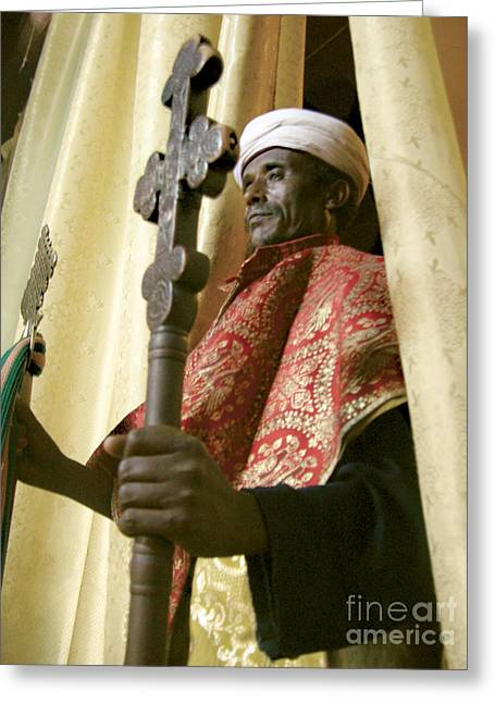 Myspace Greeting Cards - Priest with crosses in Lalibela Greeting Card by Cherie Richardson