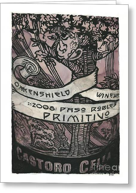 Cellar Mixed Media Greeting Cards - Primitivo Greeting Card by Steven  Nakamura