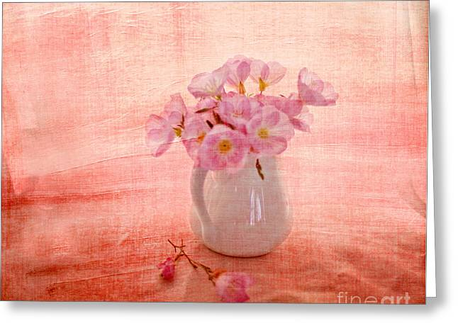 Textured Floral Greeting Cards - Primroses dorange Greeting Card by Linde Townsend