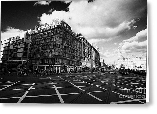 Princes Street And St David Street South With Tram Lines And Old Waverly Hotel Edinburgh Scotland Uk Greeting Card by Joe Fox
