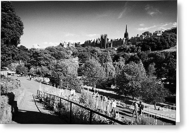 princes street gardens edinburgh scotland uk united kingdom Greeting Card by Joe Fox