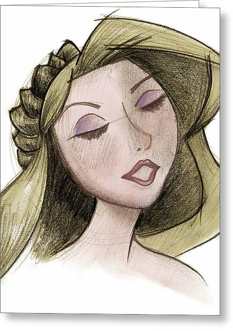 Updo Greeting Cards - Princess - Drawing with Digital Color Greeting Card by Andrew Fling