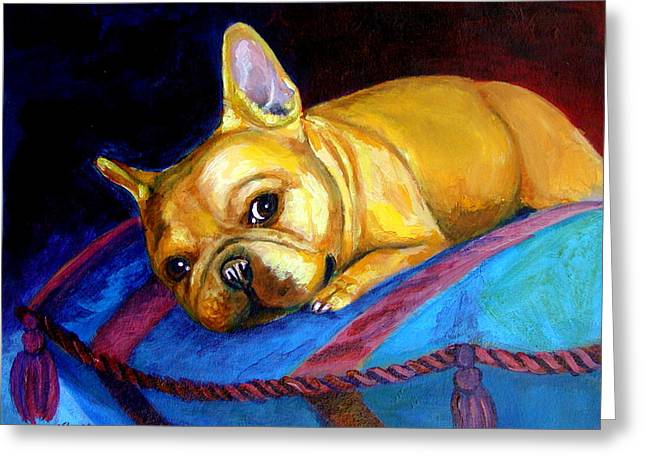 Bulldog Pet Portraits Greeting Cards - Princess and her Pillow French Bulldog Greeting Card by Lyn Cook