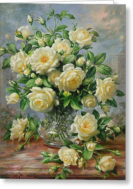 White Rose Greeting Cards - Princess Diana Roses in a Cut Glass Vase Greeting Card by Albert Williams