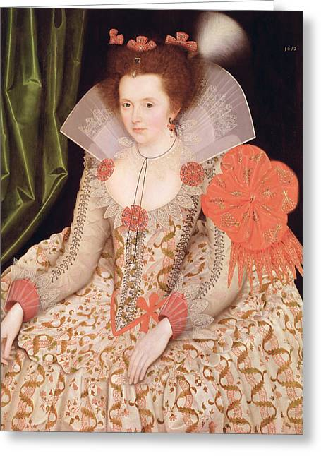 Cuff Greeting Cards - Princess Elizabeth the daughter of King James I Greeting Card by Marcus Gheeraerts