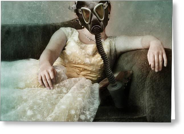Princess in Gas Mask 2 Greeting Card by Jill Battaglia