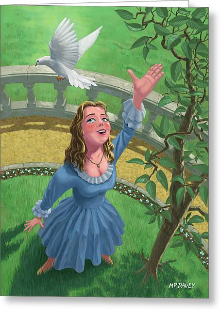 Release Greeting Cards - Princess Releasing Bird Greeting Card by Martin Davey