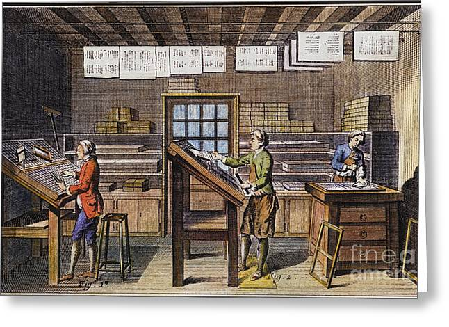 1751 Greeting Cards - Print Shop, Paris, 1751 Greeting Card by Granger