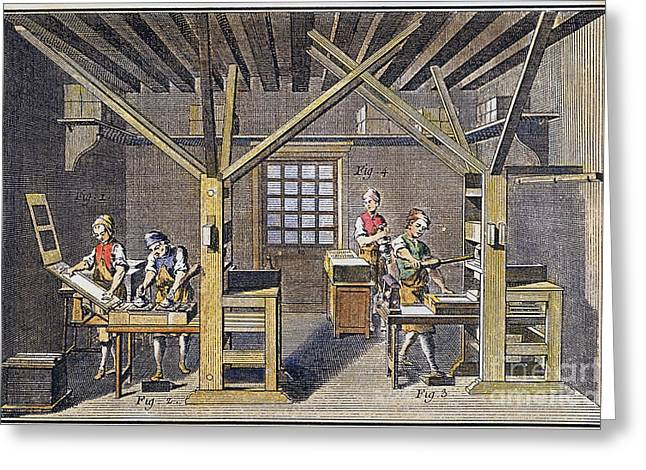 1751 Greeting Cards - Print Shop Press Room,  1751 Greeting Card by Granger