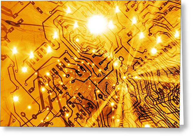 Star Evolution Greeting Cards - Printed Circuit Board, Artwork Greeting Card by Mehau Kulyk