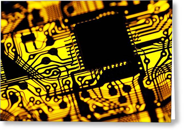 Component Greeting Cards - Printed Circuit Board, Artwork Greeting Card by Pasieka