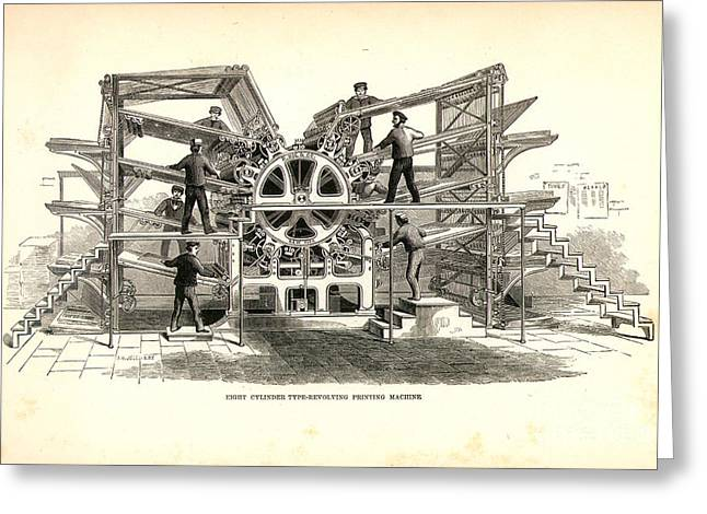 Mechanical Revolution Greeting Cards - Printing Press, 1847 Greeting Card by Granger