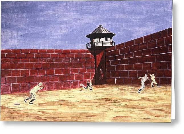 Baseball Paintings Greeting Cards - Prison Ball Greeting Card by Ralph LeCompte