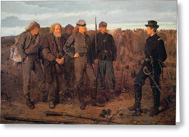 Prisoner Paintings Greeting Cards - Prisoners from the Front Greeting Card by Winslow Homer