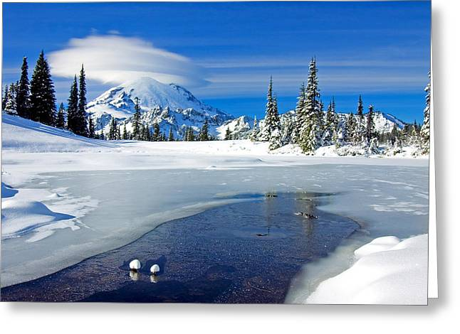 Mt Rainier Greeting Cards - Pristine Greeting Card by Mike  Dawson