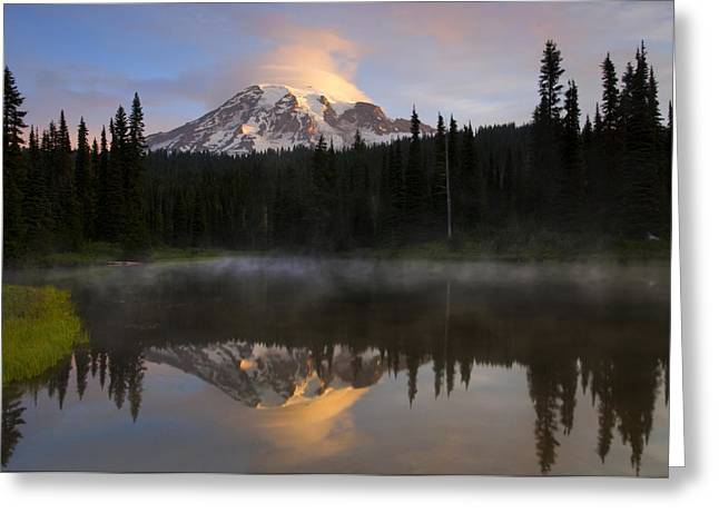 Mt. Rainier Greeting Cards - Pristine Reflections Greeting Card by Mike  Dawson