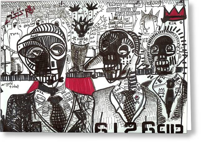 Basquiat Drawings Greeting Cards - Private Party Greeting Card by Robert Wolverton Jr