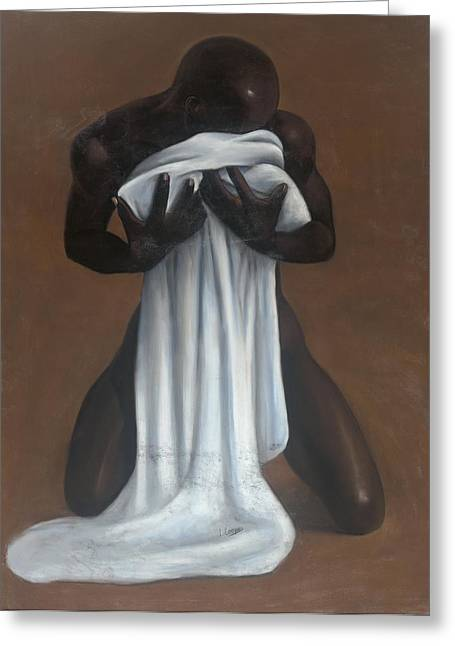 Black Man Pastels Greeting Cards - Private Passion Greeting Card by L Cooper