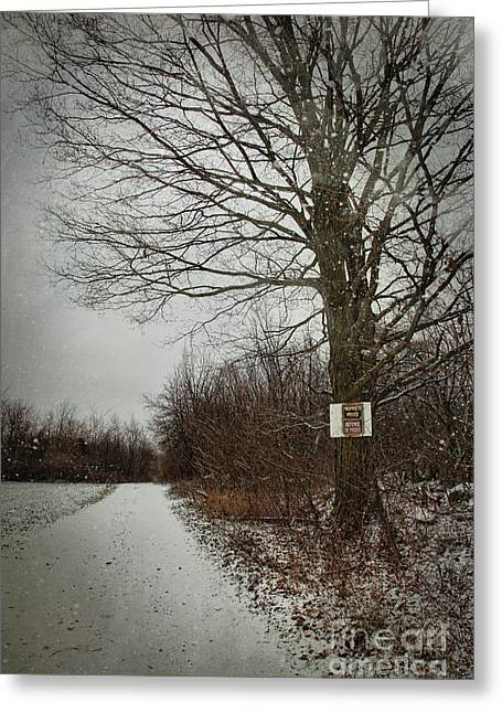 Border Photographs Greeting Cards - Private property sign on tree in winter Greeting Card by Sandra Cunningham