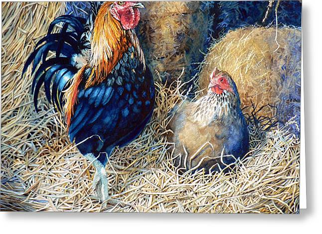 Prized Rooster Greeting Card by Hanne Lore Koehler