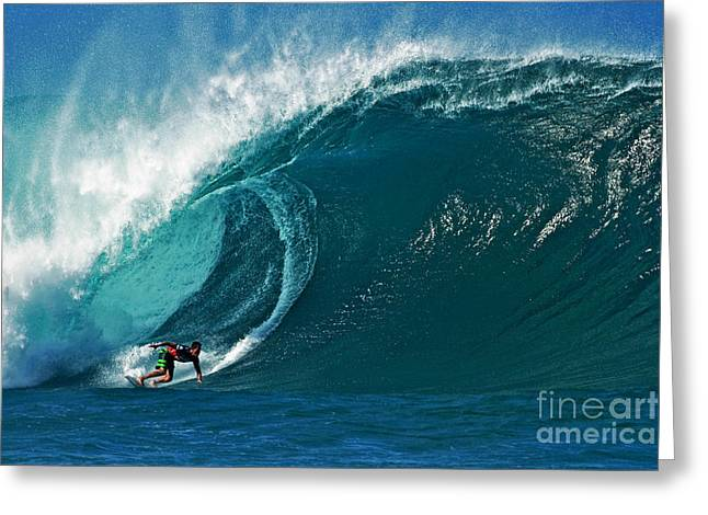 Surf Art Greeting Cards - Pro Surfer Evan Valiere Surfing in the Pipeline Masters Contest Greeting Card by Paul Topp