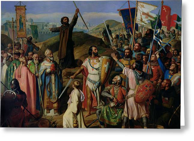 Knight Greeting Cards - Procession of Crusaders around Jerusalem Greeting Card by Jean Victor Schnetz