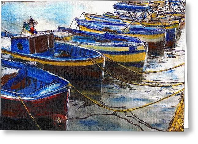 Fishing Boats Pastels Greeting Cards - Procida Fishing Boats End of The Day Greeting Card by Randy Sprout