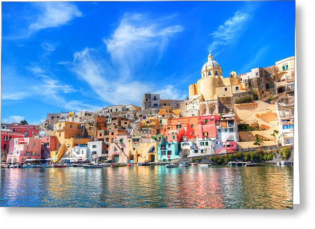 Glow Pyrography Greeting Cards - Procida Greeting Card by Francesco Riccardo  Iacomino