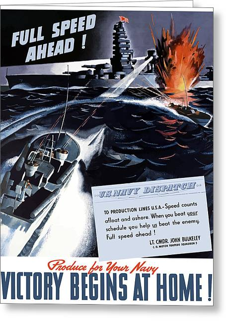 War Propaganda Greeting Cards - Produce For Your Navy Greeting Card by War Is Hell Store