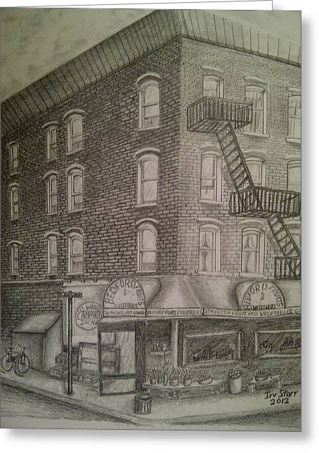 Produce Market In Brooklyn Greeting Card by Irving Starr