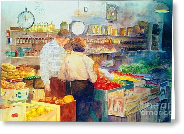 Impressionistic Market Greeting Cards - Produce Market Greeting Card by Maggie Clark