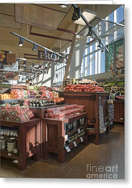 Grocery Store Greeting Cards - Produce Section of a Grocery Store Greeting Card by Robert Pisano